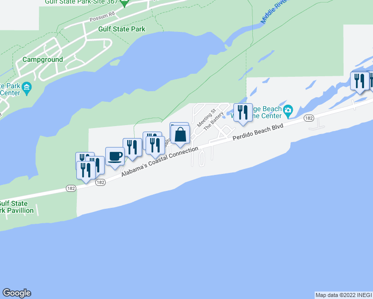 map of restaurants, bars, coffee shops, grocery stores, and more near 24470 Perdido Beach Boulevard in Orange Beach