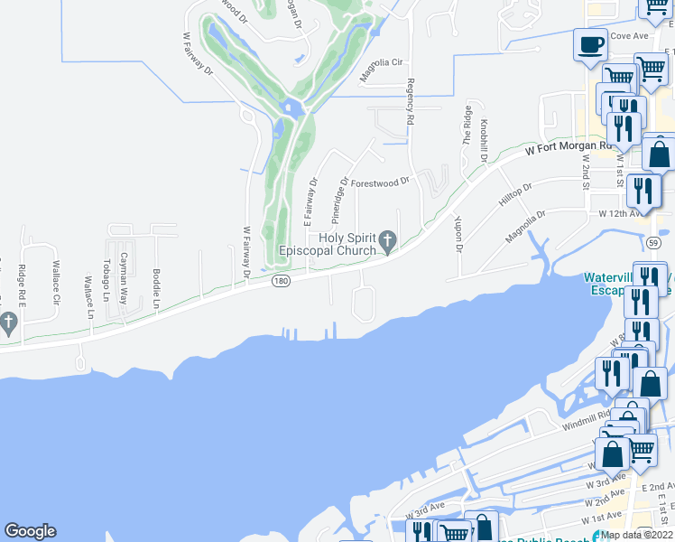 map of restaurants, bars, coffee shops, grocery stores, and more near Alabama 180 in Gulf Shores