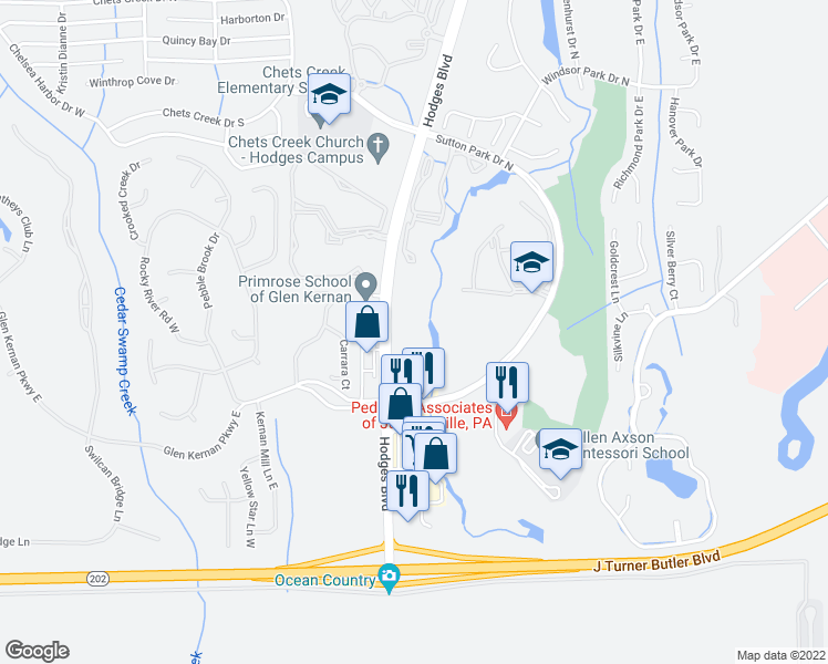 map of restaurants, bars, coffee shops, grocery stores, and more near 13401 Sutton Park Drive South in Jacksonville