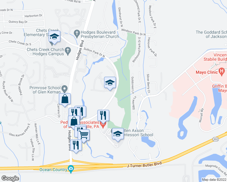 map of restaurants, bars, coffee shops, grocery stores, and more near in Jacksonville