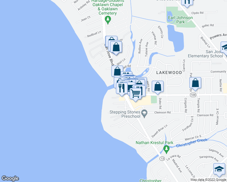 map of restaurants, bars, coffee shops, grocery stores, and more near 6000 San Jose Boulevard in Jacksonville