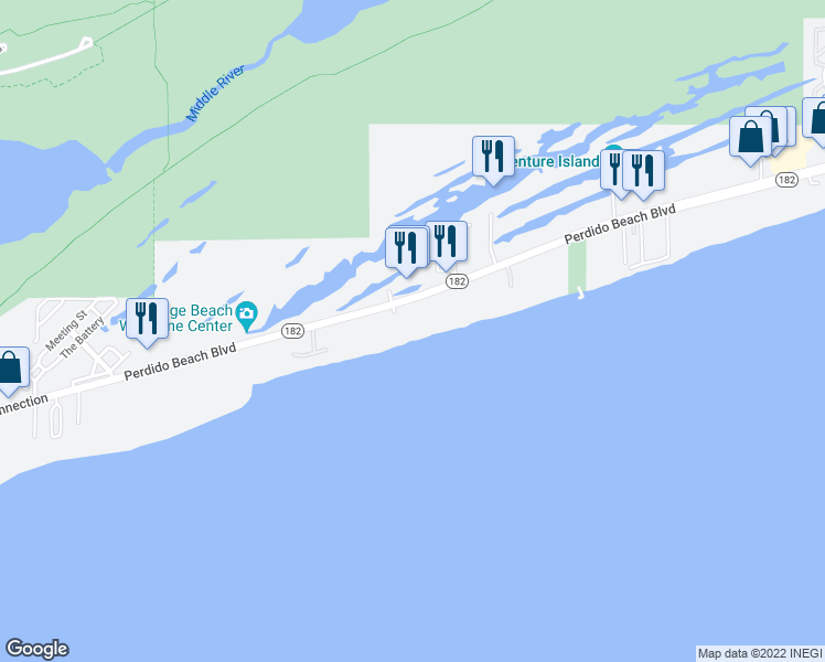 map of restaurants, bars, coffee shops, grocery stores, and more near 24060 Perdido Beach Boulevard in Orange Beach
