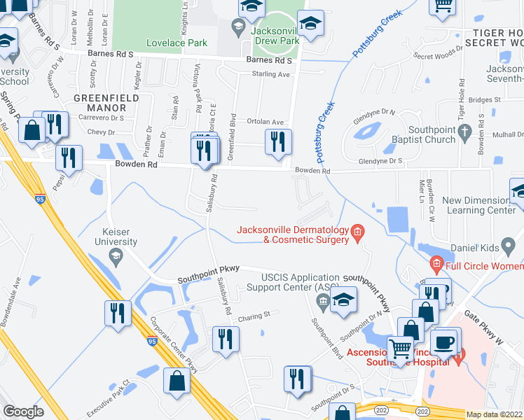 map of restaurants, bars, coffee shops, grocery stores, and more near 6680 Bennett Road in Jacksonville