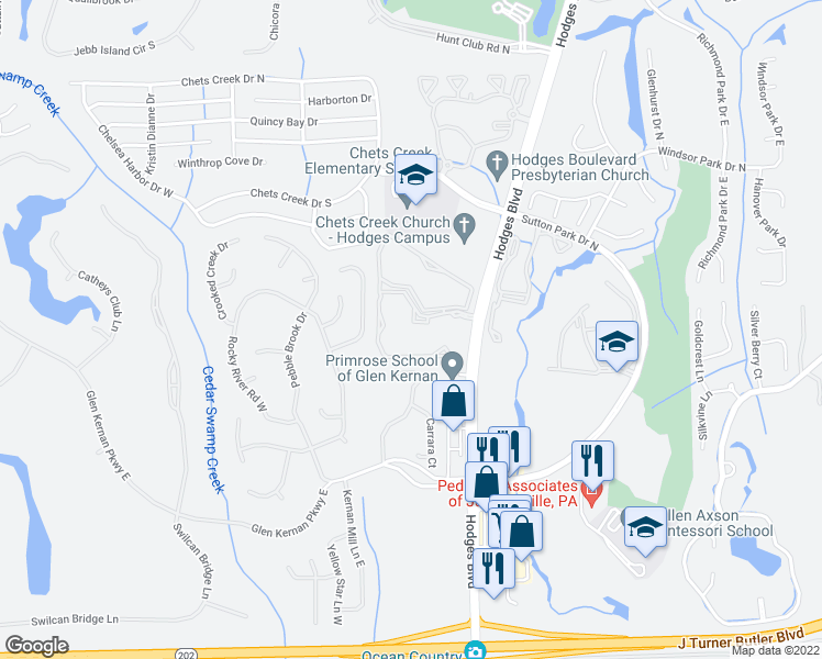 map of restaurants, bars, coffee shops, grocery stores, and more near 4460 Hodges Boulevard in Jacksonville