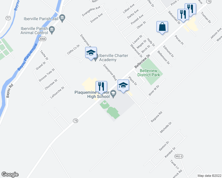 map of restaurants, bars, coffee shops, grocery stores, and more near Belleview Drive in Plaquemine