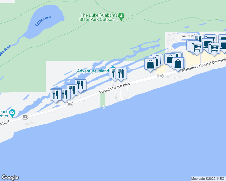 map of restaurants, bars, coffee shops, grocery stores, and more near 24566 Perdido Beach Boulevard in Orange Beach