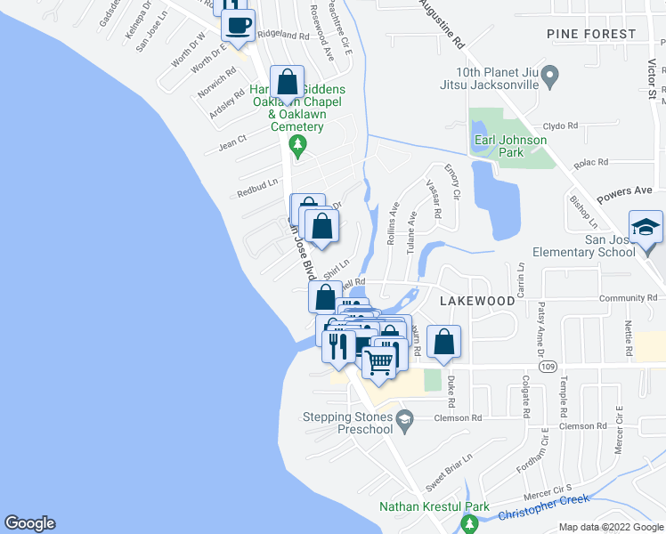 map of restaurants, bars, coffee shops, grocery stores, and more near 5215 San Jose Boulevard in Jacksonville