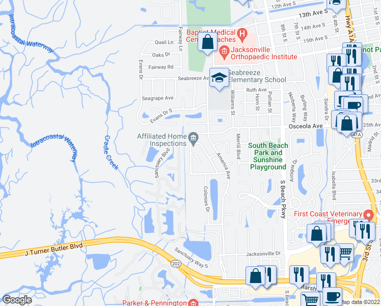 map of restaurants, bars, coffee shops, grocery stores, and more near Liberty Lane in Jacksonville Beach