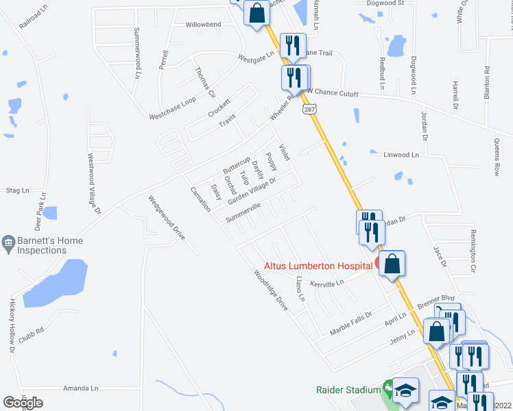 map of restaurants, bars, coffee shops, grocery stores, and more near Summerville in Lumberton