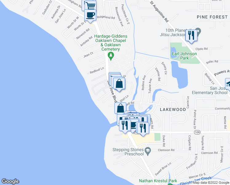 map of restaurants, bars, coffee shops, grocery stores, and more near Flanders Road in Jacksonville