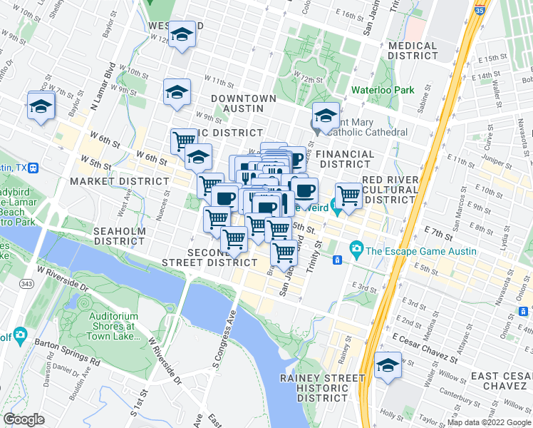 map of restaurants, bars, coffee shops, grocery stores, and more near 103 East 5th Street in Austin