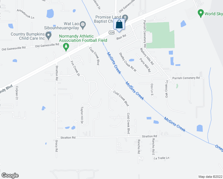 map of restaurants, bars, coffee shops, grocery stores, and more near Cold Creek Boulevard in Jacksonville