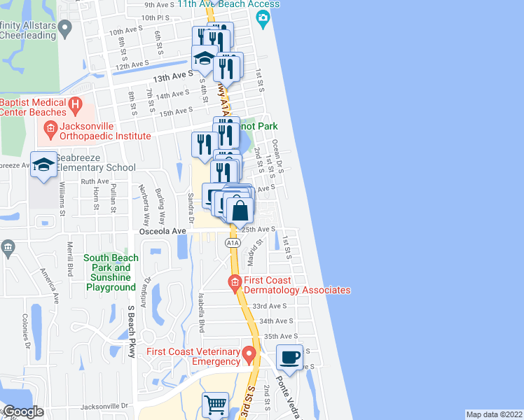 map of restaurants, bars, coffee shops, grocery stores, and more near 202 Laguna Villa Boulevard in Jacksonville Beach