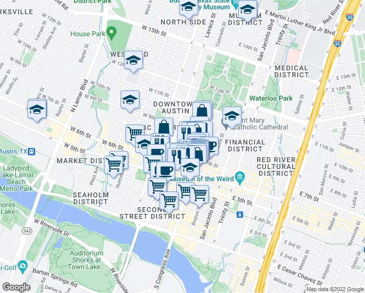 map of restaurants, bars, coffee shops, grocery stores, and more near 710 Colorado Street in Austin