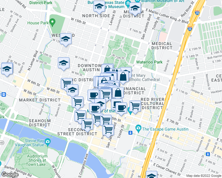 map of restaurants, bars, coffee shops, grocery stores, and more near 811 Congress Avenue in Austin