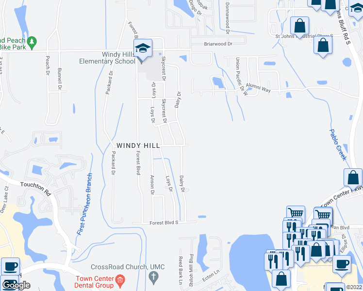 map of restaurants, bars, coffee shops, grocery stores, and more near Dalry Drive in Jacksonville