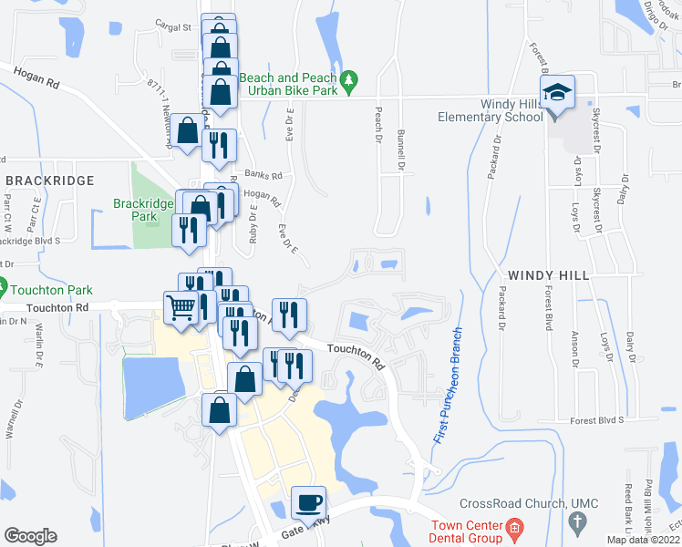 map of restaurants, bars, coffee shops, grocery stores, and more near 4155 Eve Drive East in Jacksonville