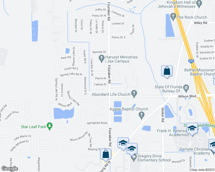map of restaurants, bars, coffee shops, grocery stores, and more near 8006 Fabray Dr in Jacksonville