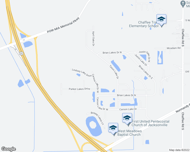 map of restaurants, bars, coffee shops, grocery stores, and more near 11909 Carson Lake Drive West in Jacksonville