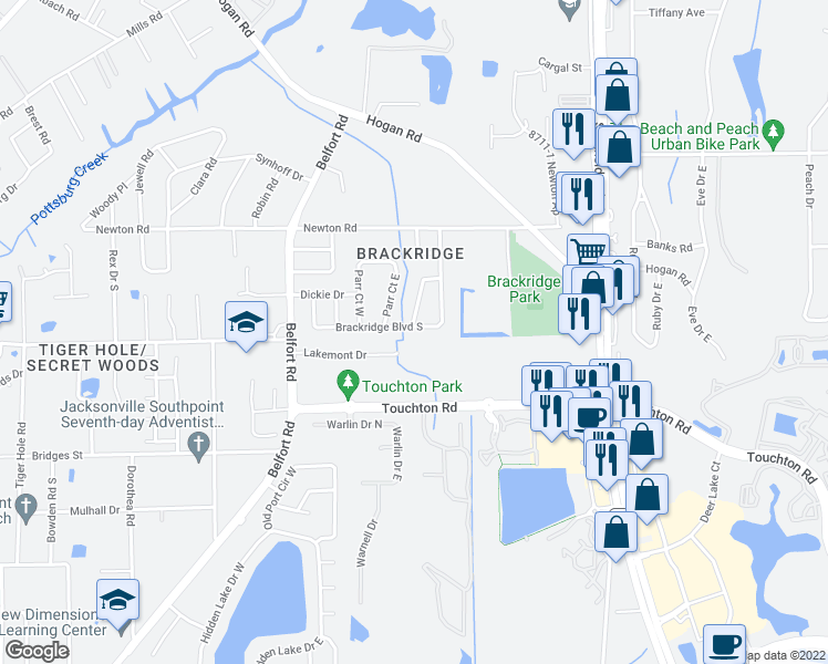 map of restaurants, bars, coffee shops, grocery stores, and more near 8418 Brackridge Boulevard South in Jacksonville