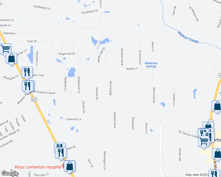 map of restaurants, bars, coffee shops, grocery stores, and more near Blanton Road in Lumberton