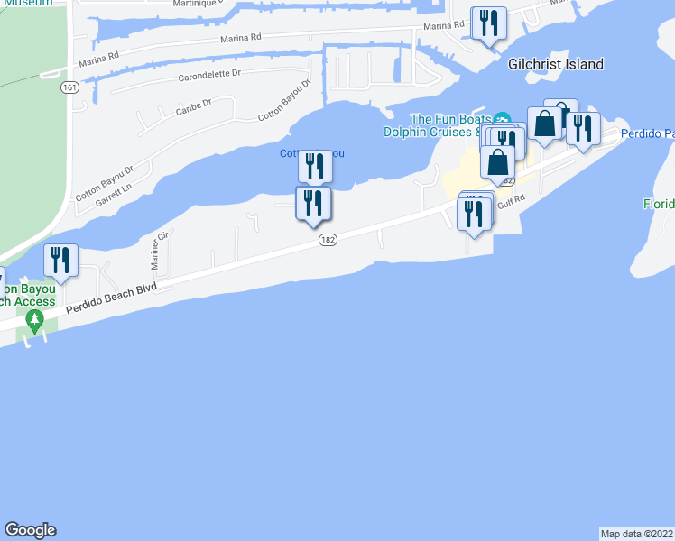 map of restaurants, bars, coffee shops, grocery stores, and more near 26750 Perdido Beach Boulevard in Orange Beach