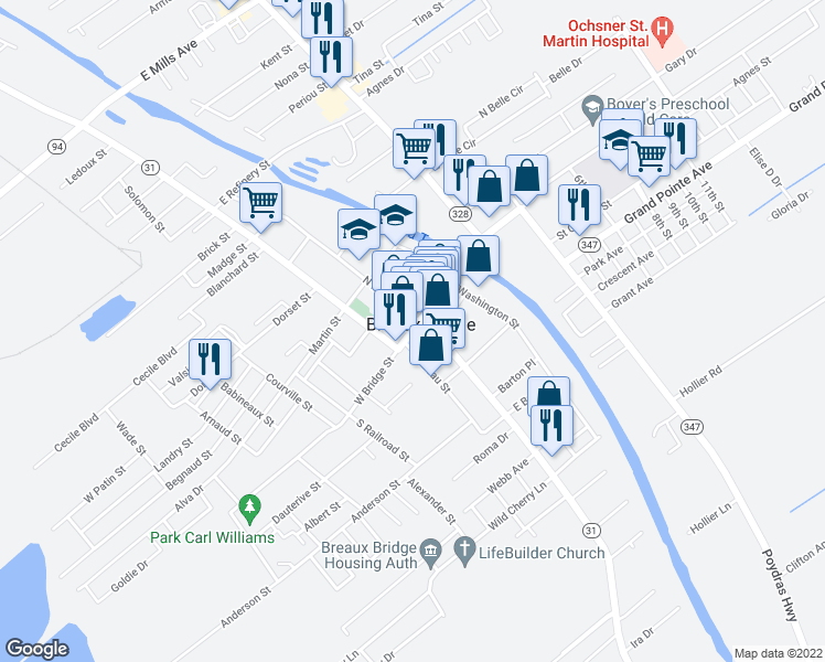 map of restaurants, bars, coffee shops, grocery stores, and more near in Breaux Bridge