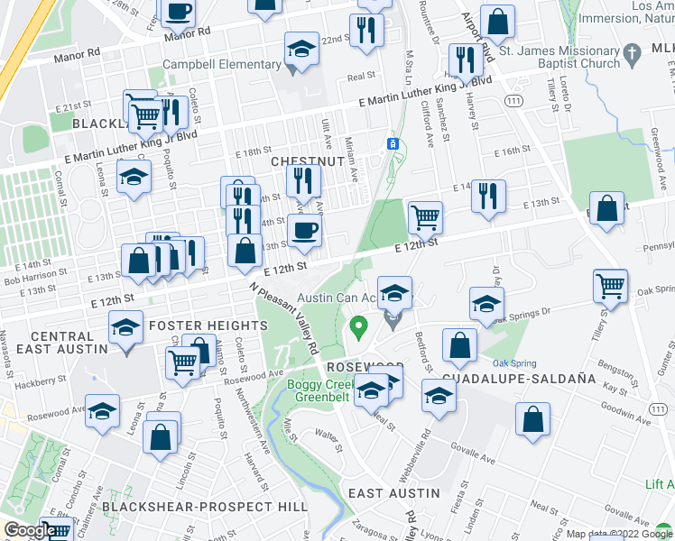 map of restaurants, bars, coffee shops, grocery stores, and more near 2798 New York Drive in Austin