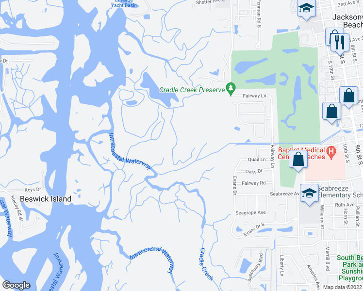 map of restaurants, bars, coffee shops, grocery stores, and more near in Jacksonville Beach