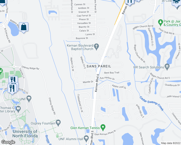 map of restaurants, bars, coffee shops, grocery stores, and more near 12242 Antoni Court in Jacksonville