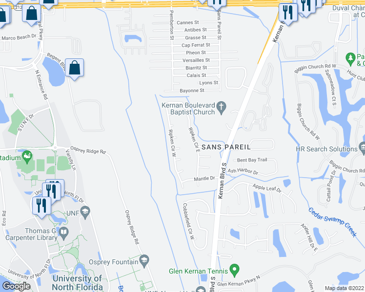 map of restaurants, bars, coffee shops, grocery stores, and more near 12183 Noyes Court in Jacksonville