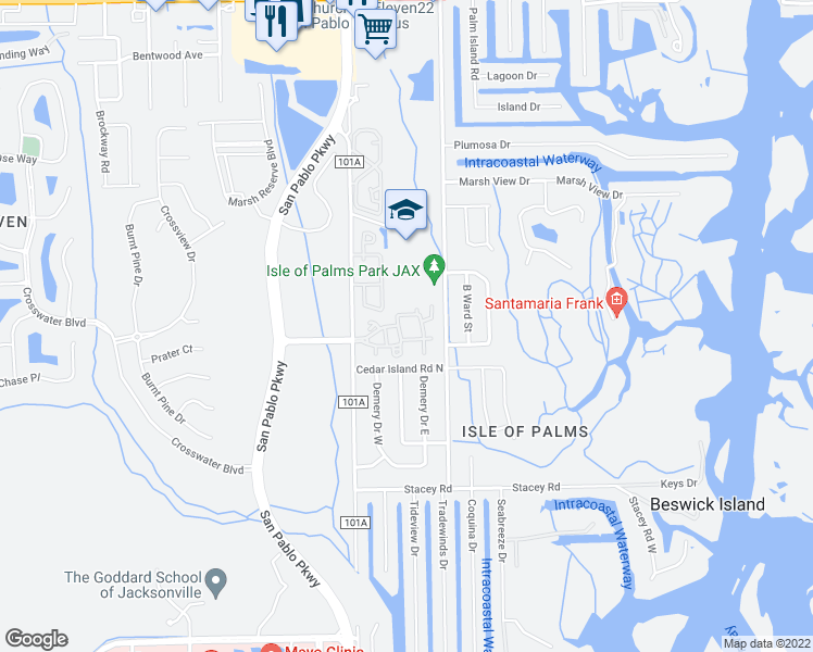 map of restaurants, bars, coffee shops, grocery stores, and more near 3875 San Pablo Road South in Jacksonville