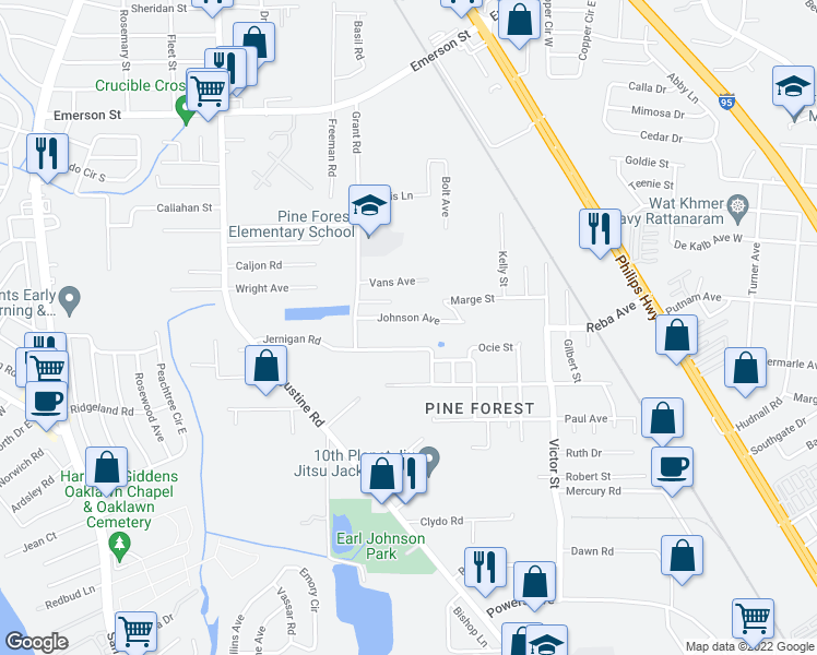 map of restaurants, bars, coffee shops, grocery stores, and more near 2416 Johnson Avenue in Jacksonville