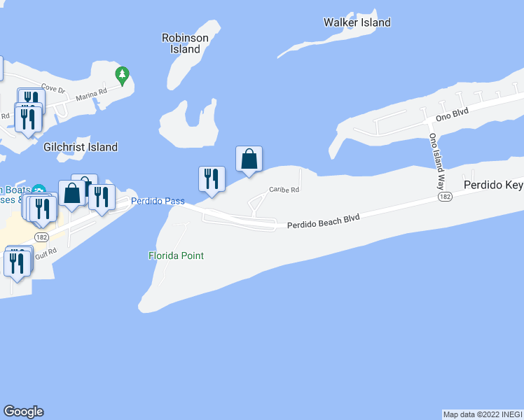 map of restaurants, bars, coffee shops, grocery stores, and more near 28105 Perdido Beach Boulevard in Orange Beach
