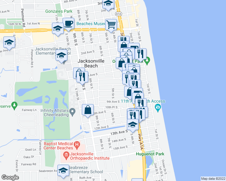 map of restaurants, bars, coffee shops, grocery stores, and more near Upper 8th Avenue South in Jacksonville Beach