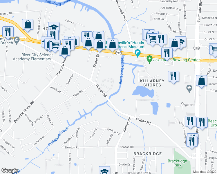 map of restaurants, bars, coffee shops, grocery stores, and more near 8343 Hogan Road in Jacksonville