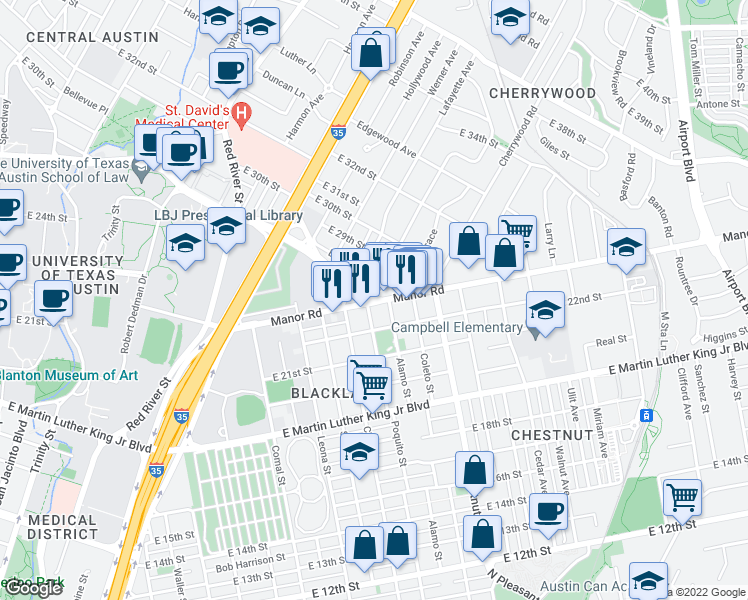 map of restaurants, bars, coffee shops, grocery stores, and more near E Dean Keeton St & French Pl in Austin