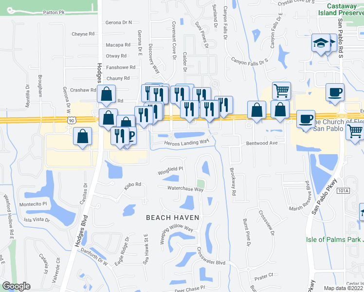 map of restaurants, bars, coffee shops, grocery stores, and more near 13816 Herons Landing Way in Jacksonville