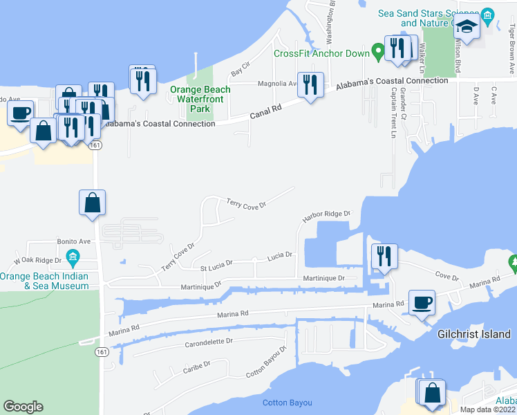 map of restaurants, bars, coffee shops, grocery stores, and more near Perdido Beach Boulevard in Orange Beach