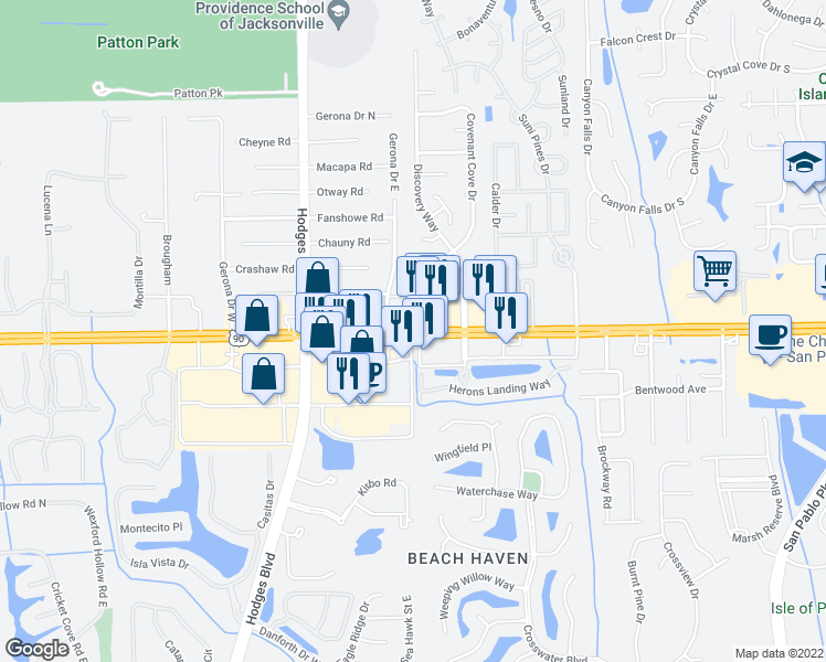 map of restaurants, bars, coffee shops, grocery stores, and more near 13825 Beach Boulevard in Jacksonville