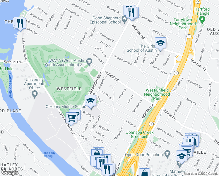 map of restaurants, bars, coffee shops, grocery stores, and more near 2505 Inwood Pl in Austin