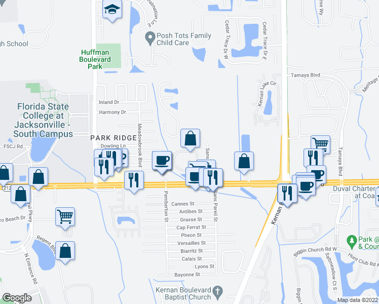 map of restaurants, bars, coffee shops, grocery stores, and more near 12171 Beach Boulevard in Jacksonville