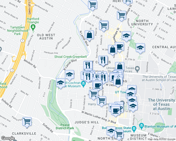 map of restaurants, bars, coffee shops, grocery stores, and more near 2505 San Gabriel Street in Austin