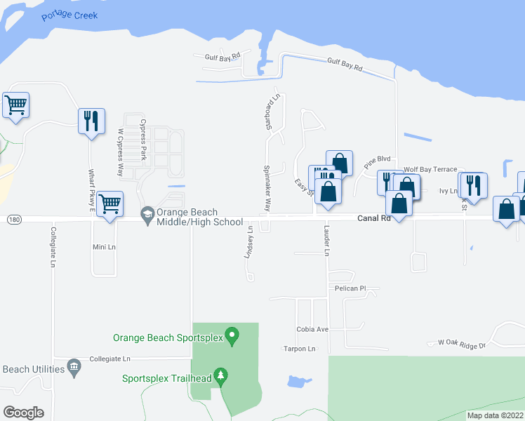 map of restaurants, bars, coffee shops, grocery stores, and more near 4587 Spinnaker Way in Orange Beach