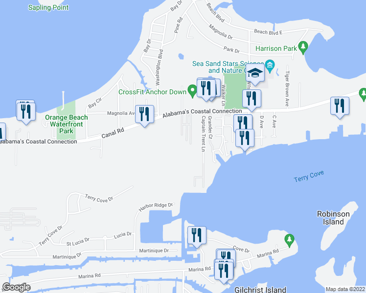 map of restaurants, bars, coffee shops, grocery stores, and more near 4775 Bay Circle in Orange Beach