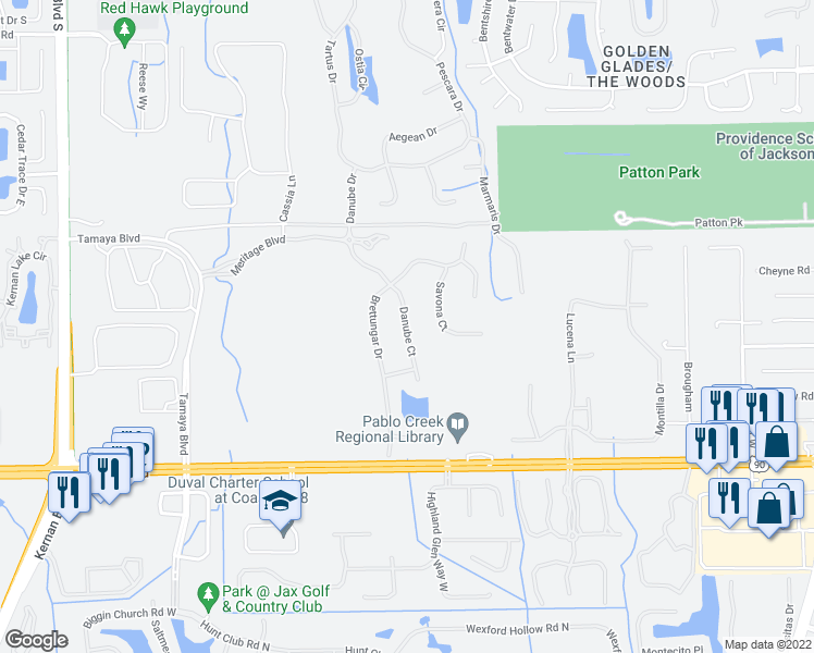 map of restaurants, bars, coffee shops, grocery stores, and more near 3037 Danube Court in Jacksonville