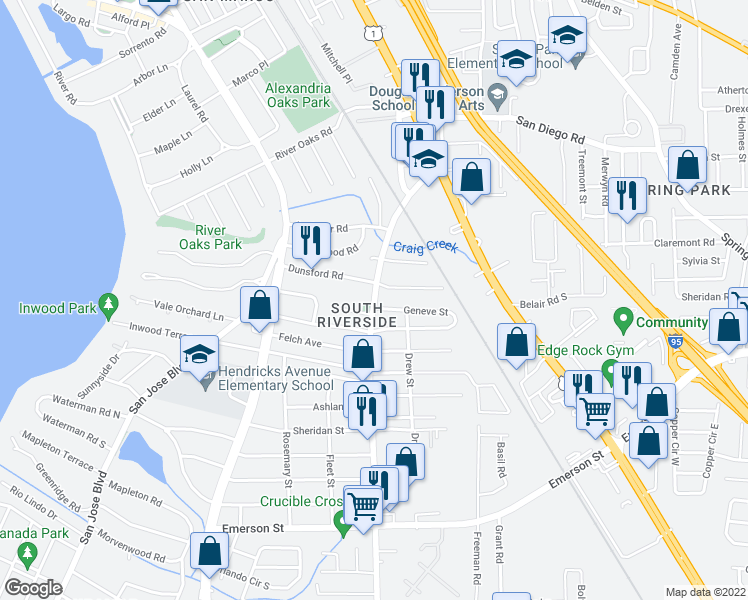map of restaurants, bars, coffee shops, grocery stores, and more near 3400 Saint Augustine Road in Jacksonville