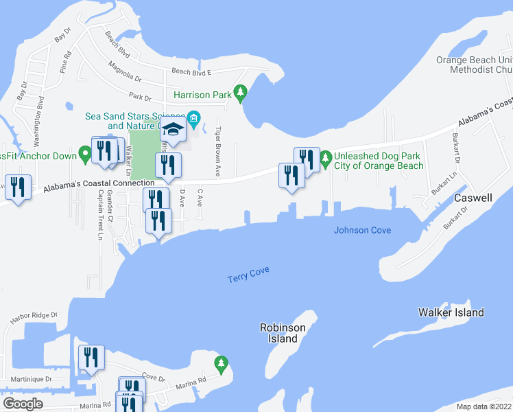 map of restaurants, bars, coffee shops, grocery stores, and more near 27770 Canal Road in Orange Beach