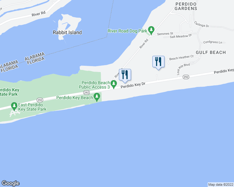map of restaurants, bars, coffee shops, grocery stores, and more near 14765 Perdido Key Drive in Pensacola