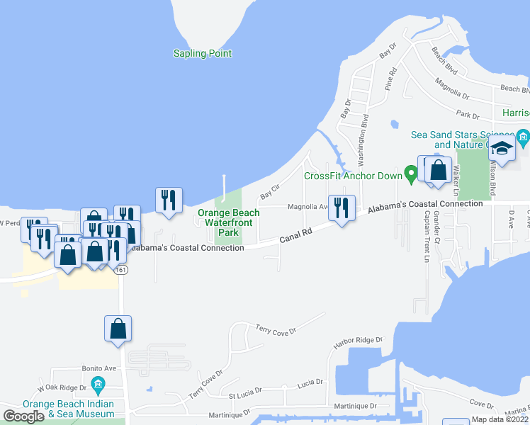 map of restaurants, bars, coffee shops, grocery stores, and more near 4780 Bay Circle in Orange Beach